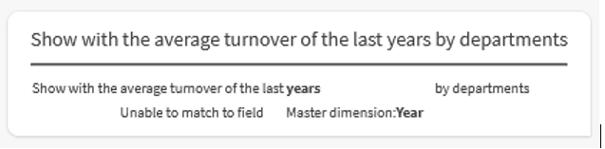 Qlik Insight Advisor Chat visualisiert die Interpretation meiner Anfrage. Das Wort years ist gefettet