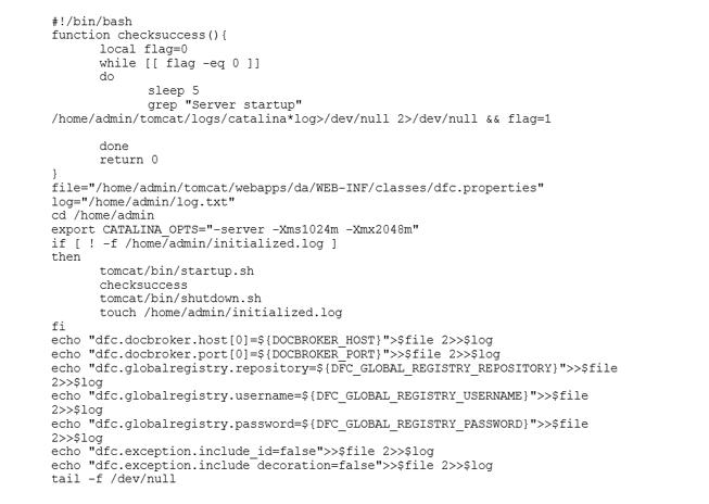 Startskript, das die Datei dfc.properties auf Basis der Umgebungsvariablen des Containers schreibt