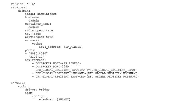 """Erstellen einer Yaml-Datei namens """"dadmin.yml"""", um die IP-Adresse des Connection Brokers auf dem Container Server, dessen Port und andere erforderliche Parameter anzugeben"""