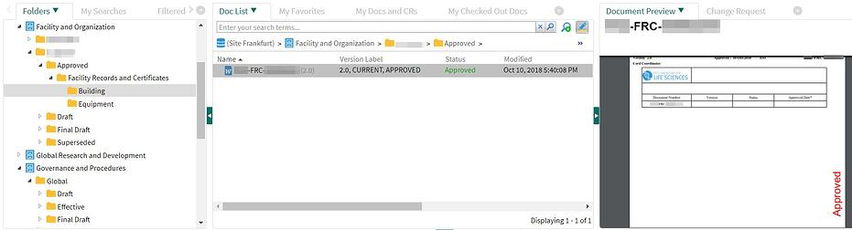 OpenText Documentum for Life Sciences_Genehmigtes Dokument wird im DMS entsprechend dargestellt