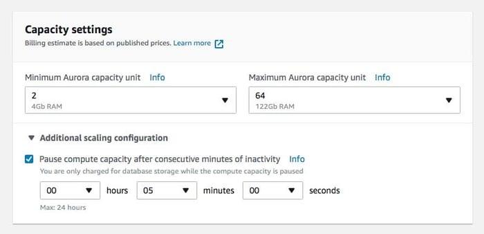 RDS Aurora Serverless Scaling Configuration